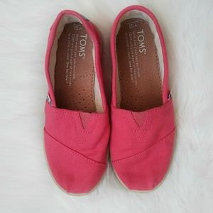 TOMS Pink Slip-On Flats Shoes Size Y 12.5.